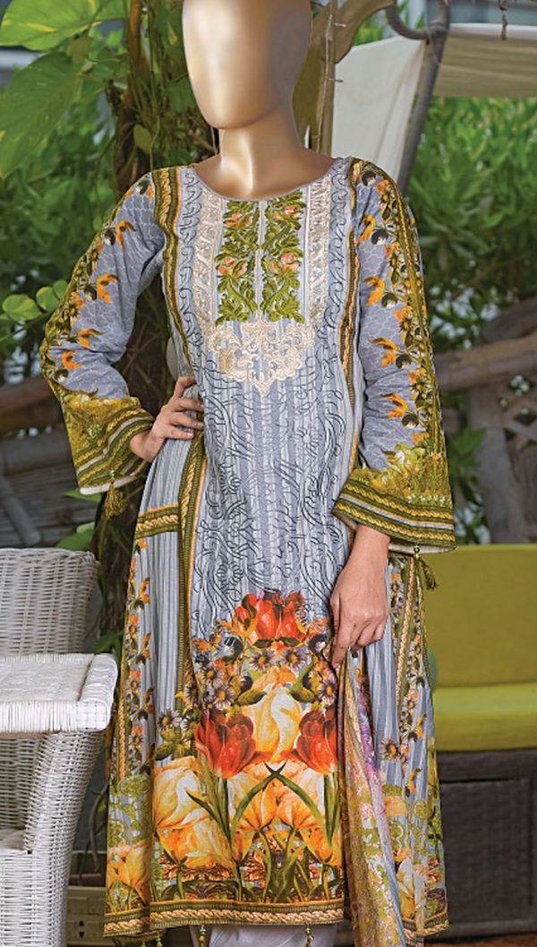 3pcs Embroidered Lawn Shirt Plain Trouser Chiffon Dupatta product