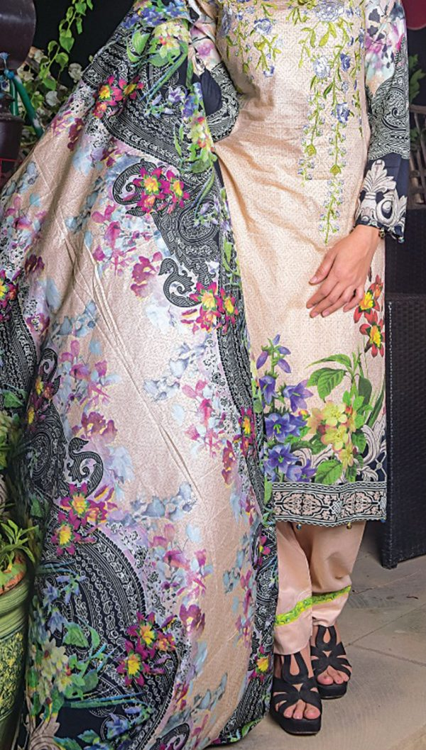 3pcs Embroidered Lawn Shirt Plain Trouser Chiffon Dupatta product (code: ar-05)