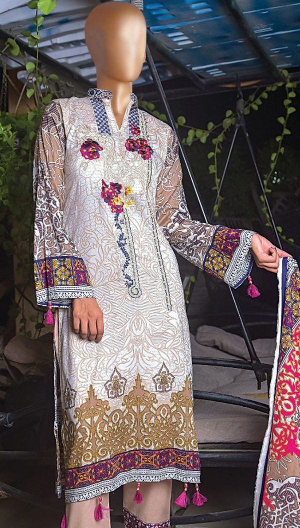 3pcs Embroidered Lawn Shirt Plain Trouser Chiffon Dupatta product (code: ar-08)