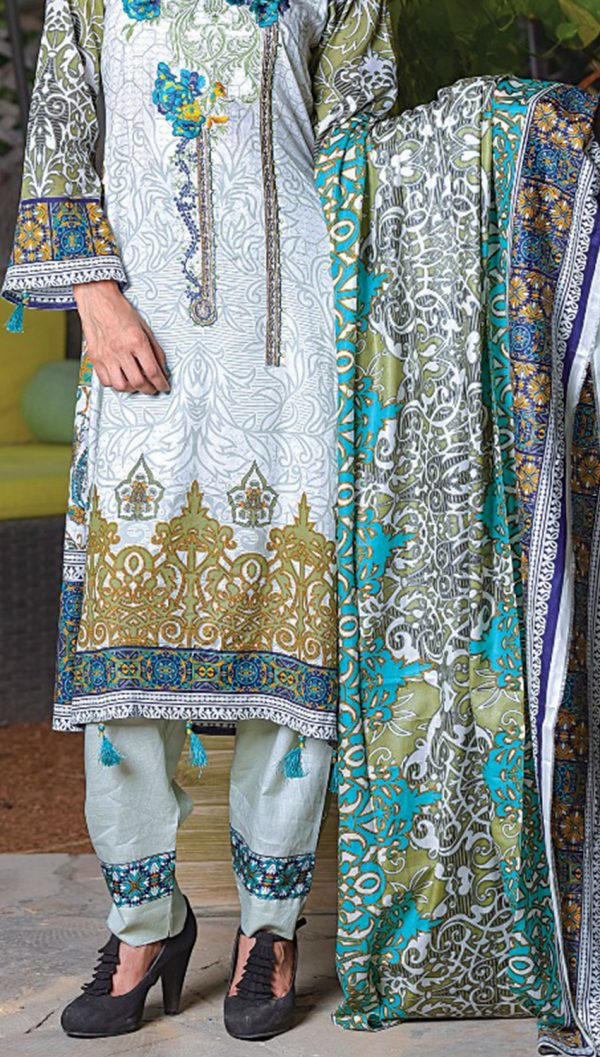 3pcs Embroidered Lawn Shirt Plain Trouser Chiffon Dupatta product (code: ar-09)