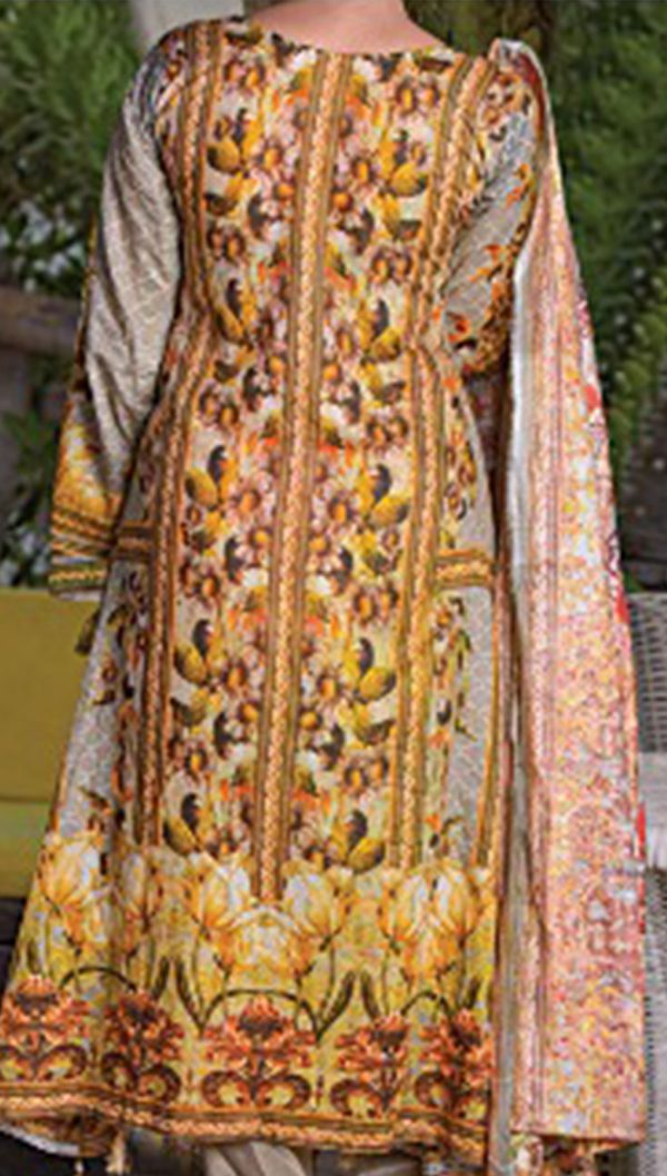 3pcs Embroidered Lawn Shirt Plain Trouser Chiffon Dupatta product (code: ar-10)